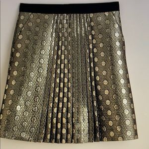 J.Crew Vintage Collection Gold Coin Pleated Skirt Size 2